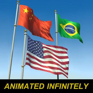 flags 3d model