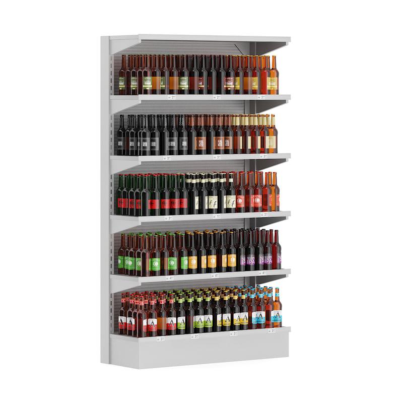 3d supermarket shelf bottled beer