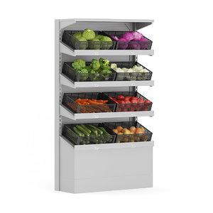 3d model supermarket shelf vegetables