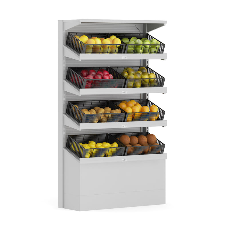 supermarket shelf fruits 3d model