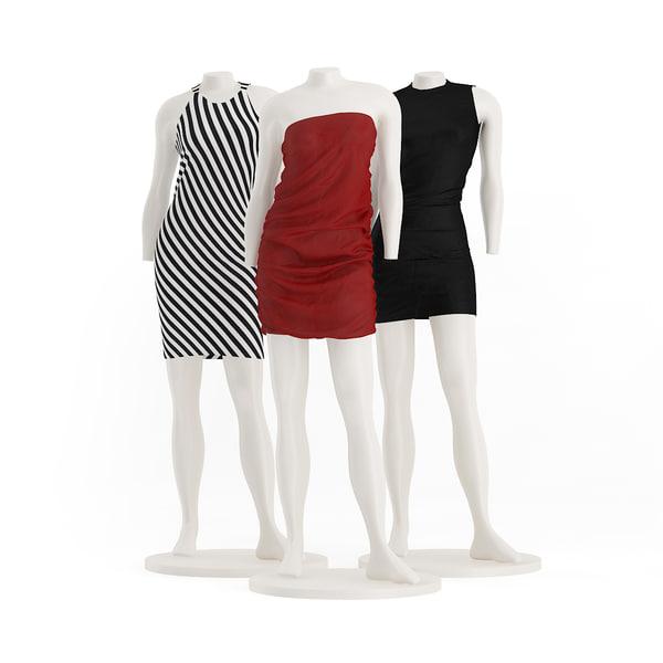 store mannequins dresses 3d c4d