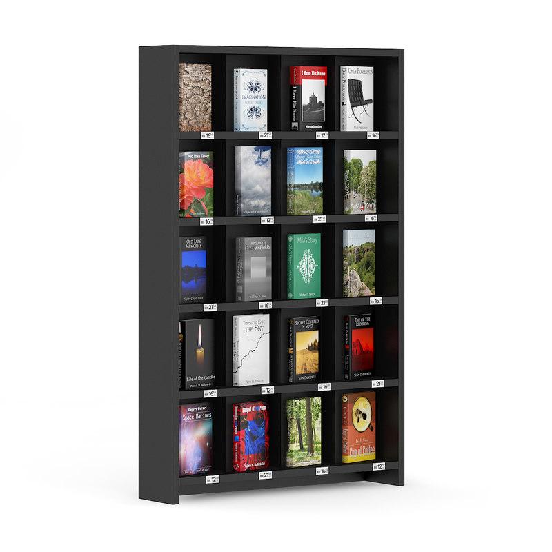 3d bookstore shelf books