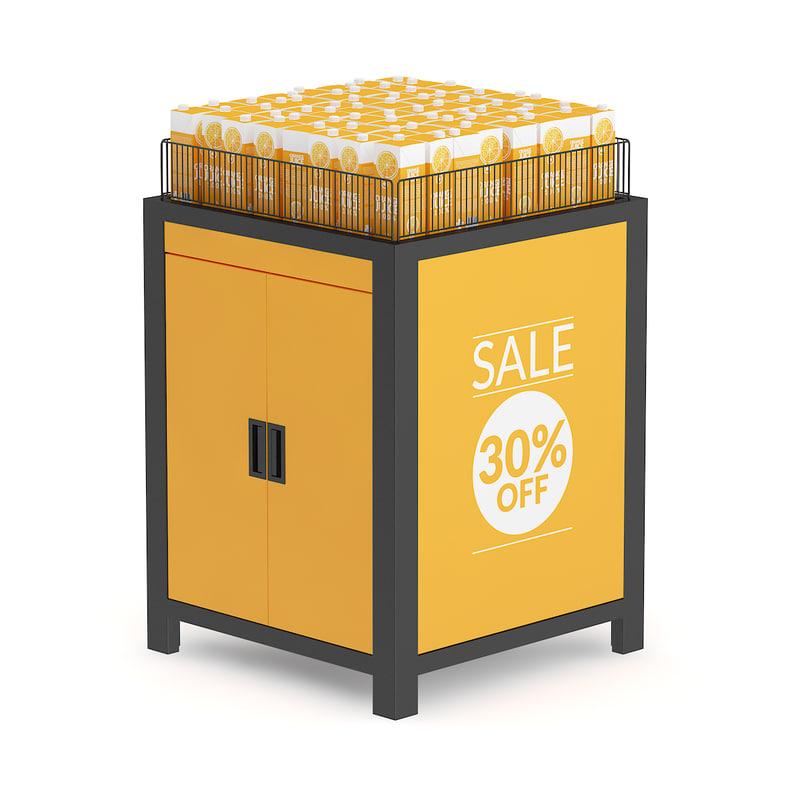 market shelf orange juice 3d obj