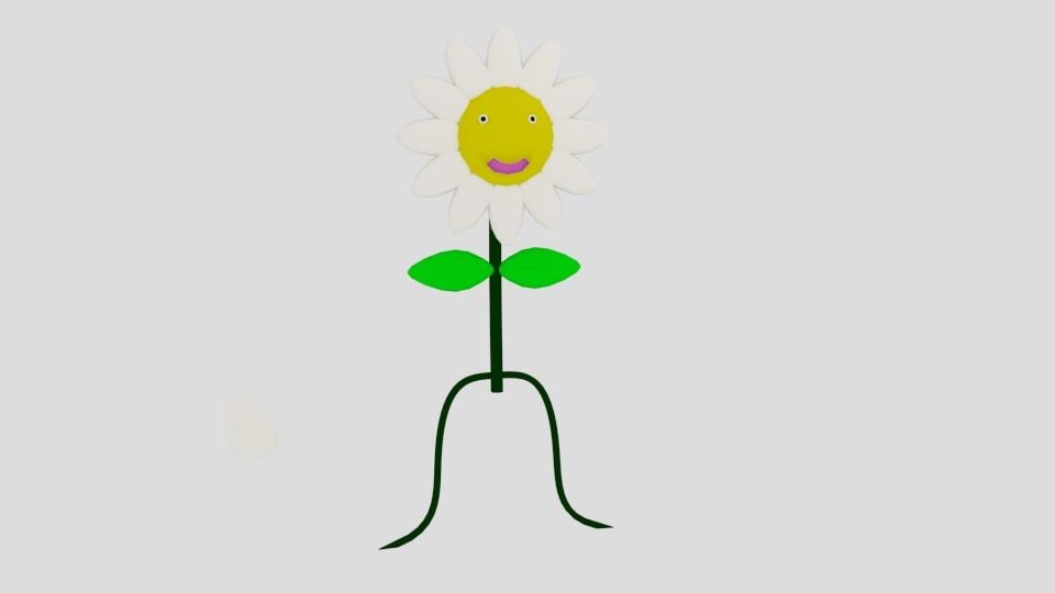 cartoon flower obj