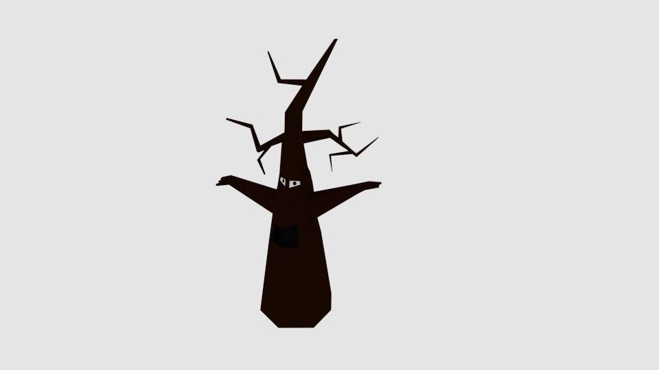 cartoon dead tree monster 3d model