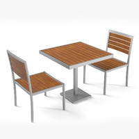 3d model outdoor cafe teak table chair