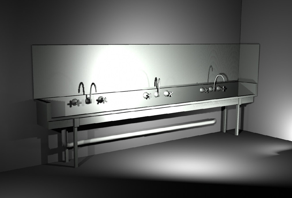 3d industrial wash sink model