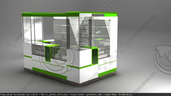3d kiosk mobile counter model