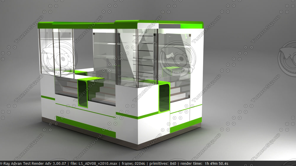 3d kiosk mobile counter model for Mobili kios