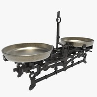antique cast iron scales 3d model