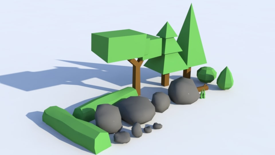 ready environment trees shrubs 3d model