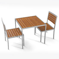 3d model steel outdoor cafe teak