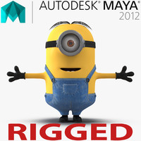 3d short eyed minion rigged model