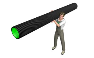worker carrying drainage pipe 3d c4d