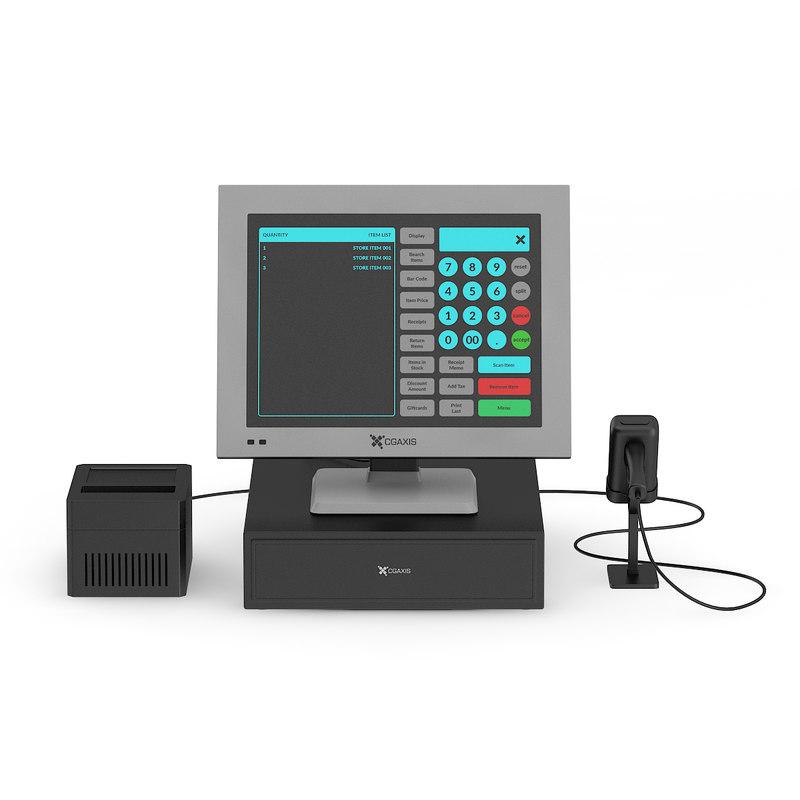 cash register scanner printer 3d max