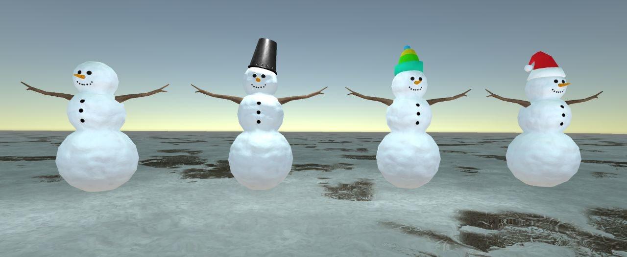 3d snowmans