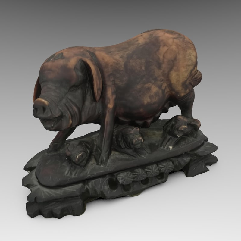 3d model ornate chinese pig