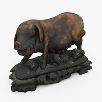 3d model ornate chinese pig