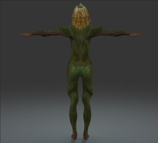 3d unknown lizard woman rigged model