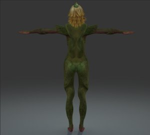3d unknown lizard woman rigged model