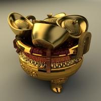 chinese gold ingot 3d max