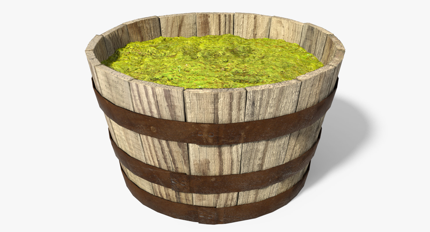 oak barrel planter 3d max