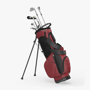 3d model golf bag 2 clubs