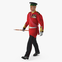 irish guard sergeant walking 3d 3ds