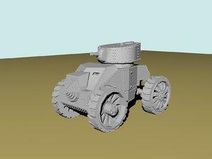 ansaldo-pavesi wheeled tank modello 3d model