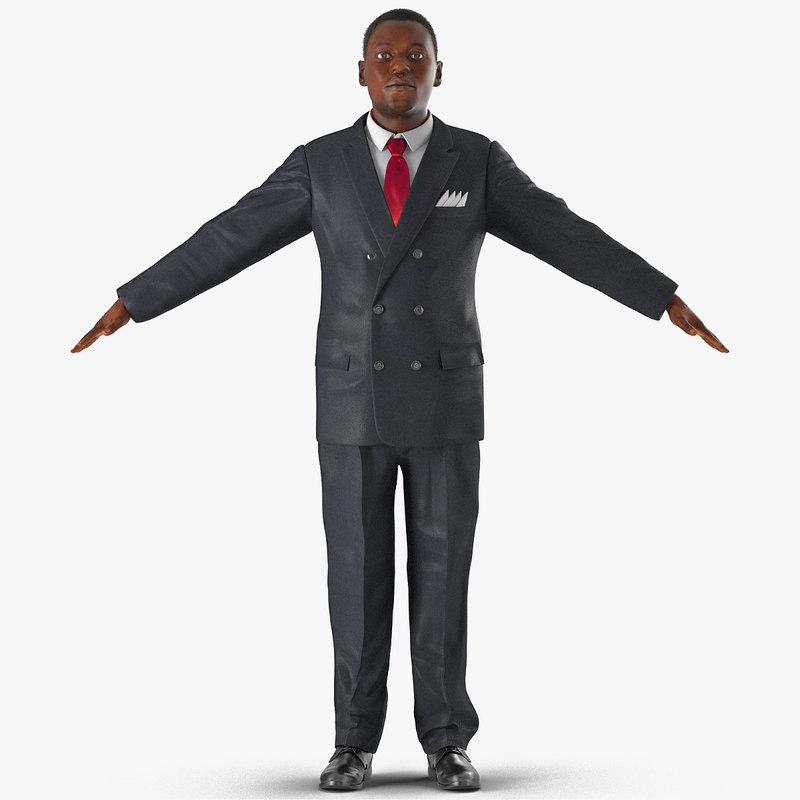 businessman african american hair 3d model