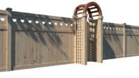3d model fence wood