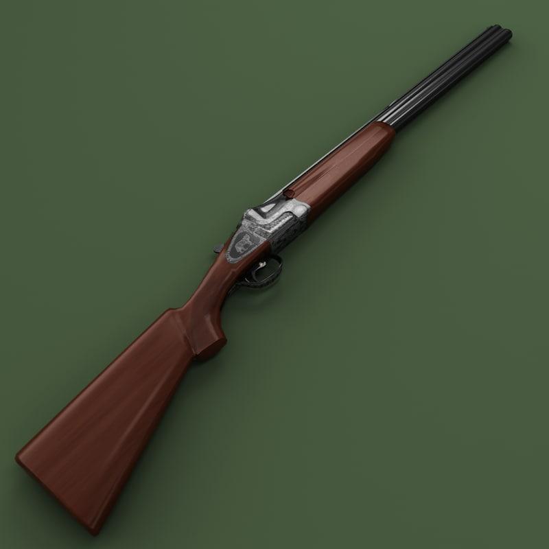3d model antique shotgun