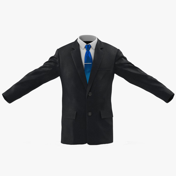 double buttons business jacket 3d model