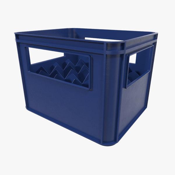 3d model of plastic bottle crates blue