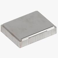 silver box 3d obj
