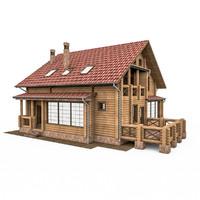 bar wood house 3d c4d