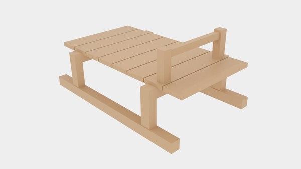 free simple wood sledge 3d model