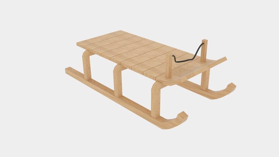 wood sledge 3d model