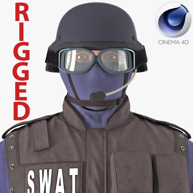 3d model swat policeman rigged