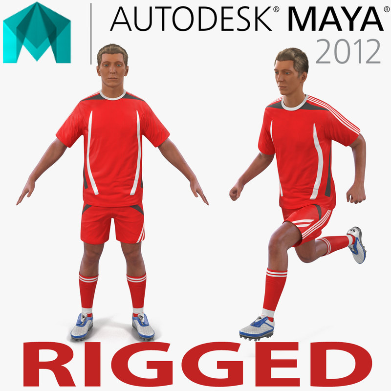 soccer player generic rigged 3d ma