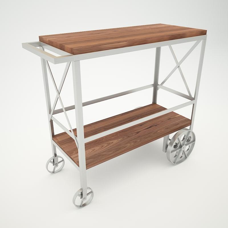 butler industrial trolley server obj