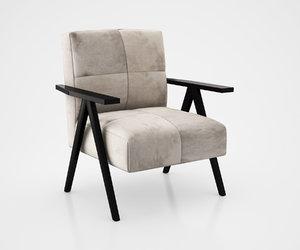 3d retro cowhide chair