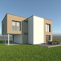 modern single family home 3d obj