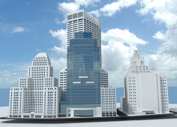 bostons skyscrapers 3d model