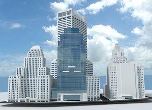 bostons skyscrapers 3d model