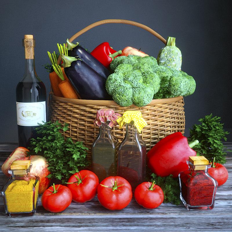 vegetables basket 3d model