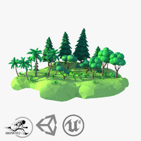 3d model style forest animation trees plants