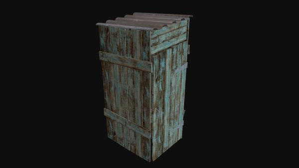 3d outdoor wooden toilet model