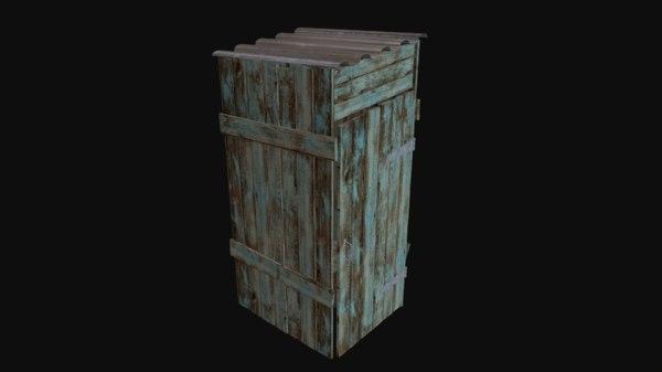 3d outdoor wooden toilet model