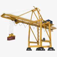 quayside container crane rigged 3d model